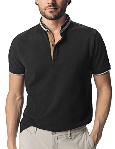 Navifalcon Polo Shirts for Men 100 Cotton Pique Collarless Polo Shirts for Mens Collard T Shirt Casual Stand Collar Shirts for Men Slim Fit Pologize Business Polo Shirts Short Sleeve Gift, Black S