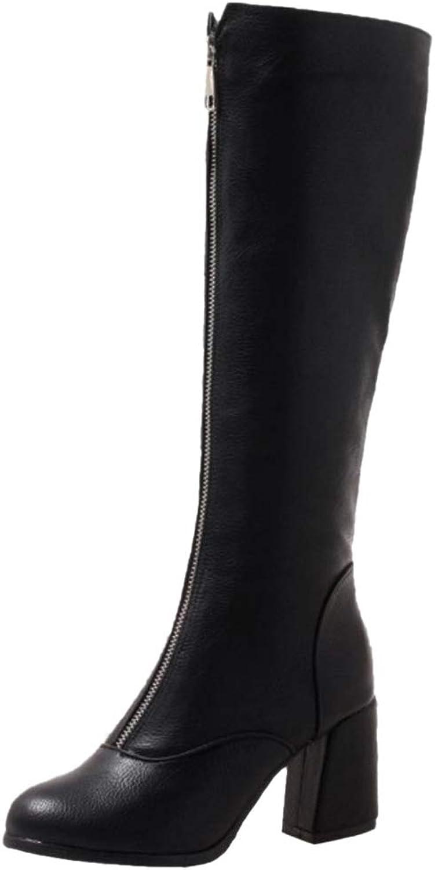 TAOFFEN Women Fashion Long Boots Zipper