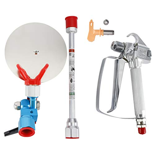 Airless Paint Spray Gun 3600 PSI High Pressure with 517 TIP Swivel Joint, Spray Guide Accessory Tool and 10 Inches Extension Pole for Airless Paint Sprayer