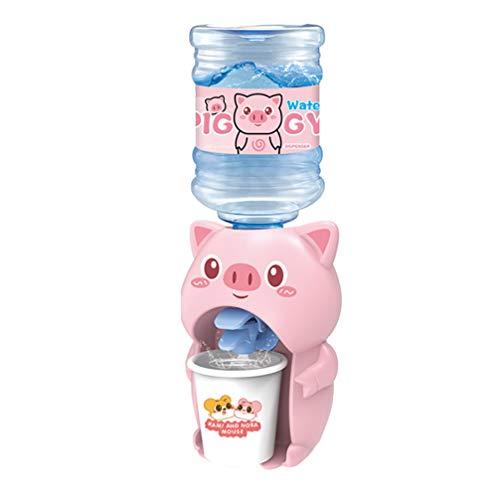 PRETYZOOM Juguete para Niños Mini Dispensador de Agua Juguete Rosa Forma de Cerdo Fuente para Beber Miniatura Escena de Juego Simulación de Papel Regalos de Novedad para Niñas Niños