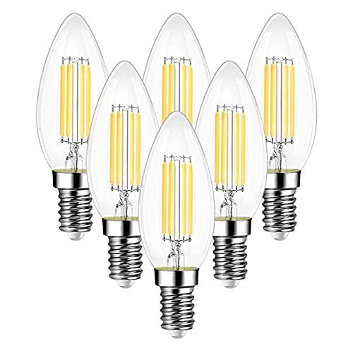 Ampoule Filament Bougie Vintage LED E14, EXTRASTAR 6W Ampoule LED Filament équivalent Incandescente 60W, E14 Ampoules Culot Vintage Edison Blanc Chaud 3000K 600LM, Lot de 6