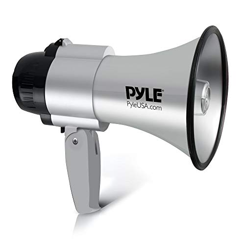 Megafon Lautsprecher von Pyle 30 Watt, Megafon mit Sirene, Lautstärke einstellbar, verfügt über eine Reichweite von 750 Metern, Ideal für Fußball