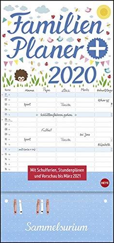 Familienplaner plus Clips. Wandkalender 2020. Monatskalendarium. Spiralbindung. Format 21 x 45 cm