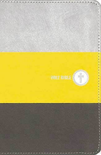 NIV, Boys Backpack Bible, Compact, Leathersoft, Yellow/Charcoal