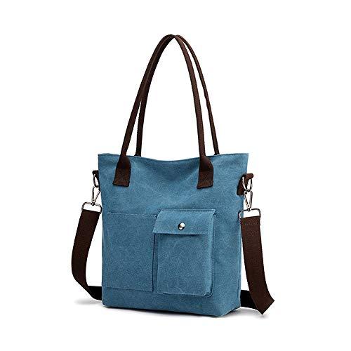 Gindoly Damen Handtasche Schultertasche Canvas Damen Umhägetasche Vintage Shopper Tasche für Alltag Büro Schule Reise EINWEG(Blau)