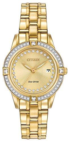 Citizen Silhouette Kristall Damen Quarzuhr mit Gold Zifferblatt Analog-Anzeige und Silber Armband Edelstahl vergoldet fe1152–52P