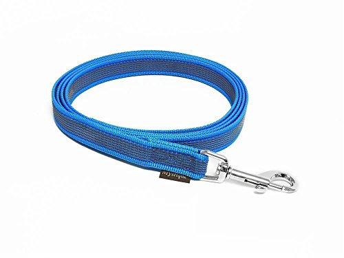 Mystique® Gummierte Leine 20mm ohne Handschlaufe Standard Karabiner blau 2m