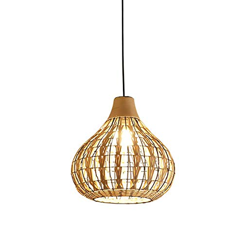Bagood Natural Bamboo Chandelier DIY Wicker Rattan Lamp Shades Weave Hanging Light D13.8INCH (Beige)