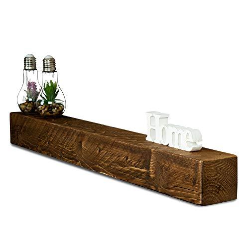 levandeo Wandregal Holz Massiv 100x10cm Nussbaum Farbig Wandboard Vintage Rustikal Design Natur Regal