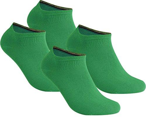 gigando | Damen und Herren | Qualitäts Sneaker Socken | 4 Paar | modisch und universell | bunte kurze Strümpfe | grün | 39-42
