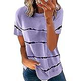 Primavera y Verano Mujeres Tie-Dye impresión Rayas Sueltas Manga Corta Cuello Redondo pulóver Camiseta Casual Mujer