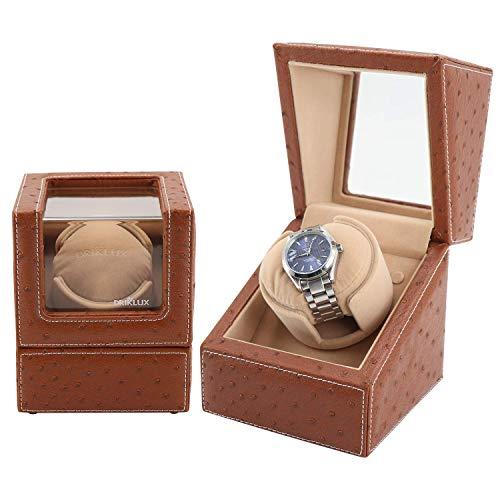 Enrolladores de relojes, estuche enrollador automático de un solo reloj para Rolex con motor silencioso, exterior de cuero de avestruz de primera calidad y almohadas suaves y flexibles para relojes