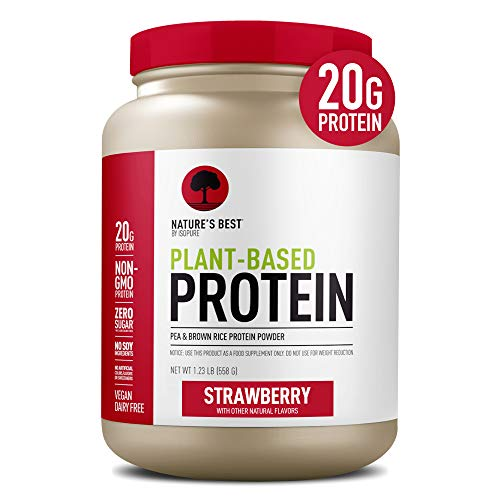 Nature's Best Plant Based Vegan Protein Powder by Isopure - Organic Keto Friendly, Low Carb, Gluten Free, 20g Protein, 0g Sugar, Strawberry, 20 Servings
