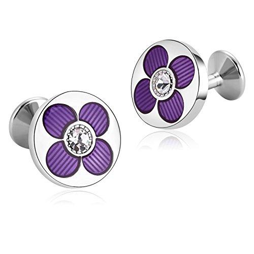 AYDOME Mens Cufflinks, Stainless Steel Flower Round Zirconia Wedding Party Cufflinks Purple White
