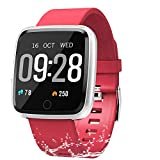 Fitness Tracker, Activity Tracker Fitness Watch with Heart Rate Monitor Color Screen,Waterproof Smart Bracelet with Step Counter,Calorie Counter,Pedometer for Kids Women Men Android iOS (Red)