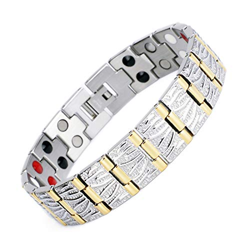 Best Buy! Double Row 4 Elements Titanium Steel Healthy Magnetic Therapy Bracelet with Free Links Rem...