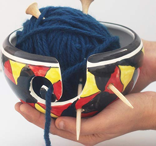 Sales Deals - Ceramic Yarn Bowl for Knitting, Crochet for Moms - Beautiful Gift on All Occasions Moms and Grandmothers. Made by Indian Old Artisians