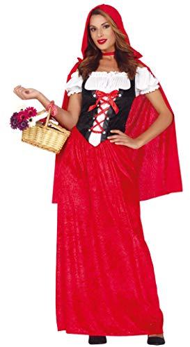 Guirca- Costume Cappuccetto Rosso Donna Taglia L 42/44, Colore Bianco,Nero, 88583