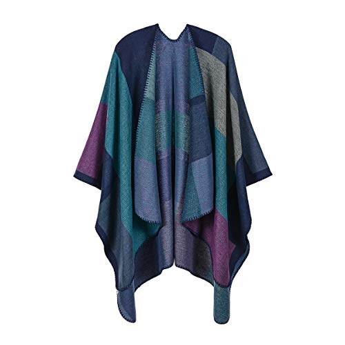 QBSM Women's Shawl Wrap Poncho Ruana Cape Open Front Long Cardigan Blanket Wraps for Fall and Winter Purple Plaid
