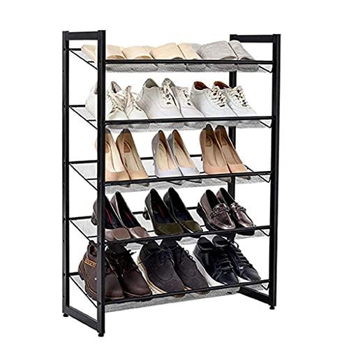Rack de zapatos metálicos de 5 capas, que se puede ajustar en un soporte de caja de almacenamiento de zapatos que se puede colocar plano o inclinado, y se puede apilar para la entrada, el dormitorio y