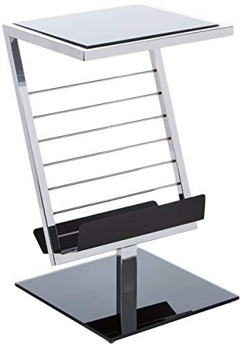 Haku Möbel mesa auxiliar en cromo negro con soporte de periódico, altura 60 cm