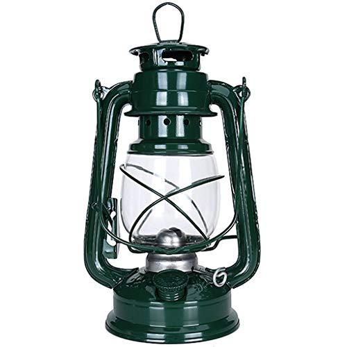 YIKE-Lantern decoratieve lamp Vintage/Kerosine lantaarn verlichting van glas 25 cm, geschikt voor woonkamer, kantoor, eetkamer, camping (groen)
