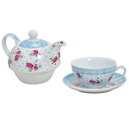 Tea for one Set 3-teilig Porzellan Teekanne mit Tasse und Untertasse mit Rosen und Blumen Motiv (Blau)