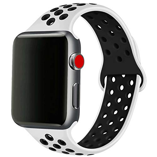 SSEIHI Compatibile con Cinturino Apple Watch 42mm 44mm,Cinturino di Ricambio Sportivo in Silicone Morbido per Cinturino per iWatch Serie 5/4/3/2/1,Sport,Traspirante, Impermeabile,S/M,White Black