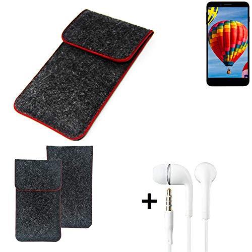 K-S-Trade Handy Schutz Hülle Für Vestel V3 5030 Schutzhülle Handyhülle Filztasche Pouch Tasche Hülle Sleeve Filzhülle Dunkelgrau Roter Rand + Kopfhörer