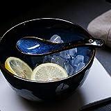 LIAN Japanische Art Keramik Suppe Löffel Retro Ramen Schüssel Suppe Löffel Reis Löffel Kreative Löffel Blau - 5