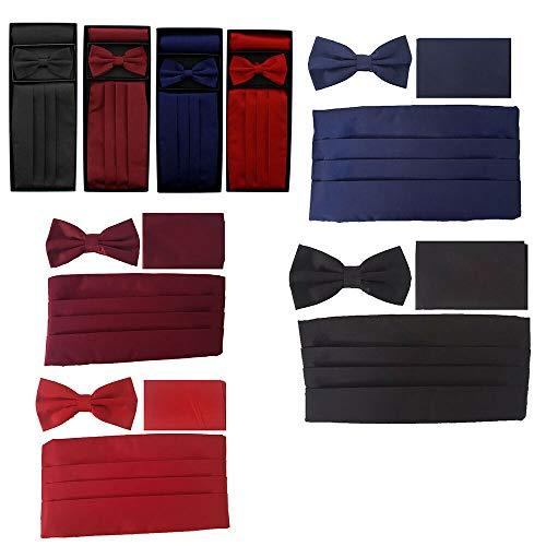 Unbekannt Unbekannt Kummerbund Fliege Einstecktuch Set - Rot, Schwarz, Bordeaux, Blau, vertrieb durch ABAV (Rot)