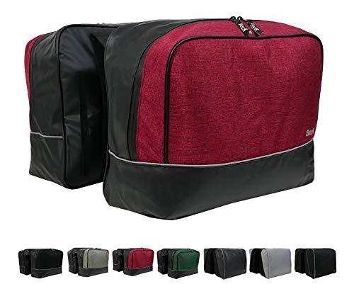 Beck Design Fahrrad Gepäckträger Tasche 40L wasserdicht, Fahrradtasche für hinten, Radtasche Doppeltasche - 2 Taschen (Bordeaux)