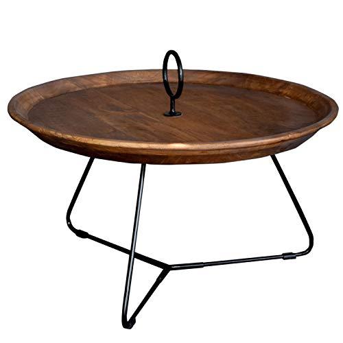 BRIX Beistelltisch Nancy L Ø 70 cm Massivholz Metall Anstelltisch Couchtisch Tisch