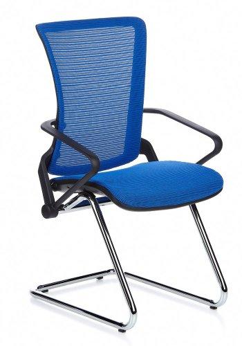 hjh OFFICE * Besucherstuhl ERGOHUMAN LII Chrom Netz-Stoff blau