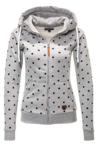 Hachiro Damen Sweatjacke Hoodie Sweatshirt Kapuzenpullover (Large, Light Grey Marl/Dots)