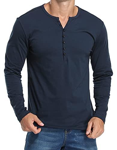 Herren Henley Shirts Langarmshirt Casual T Shirt Slim Fit Knöpfe Basic T-Shirts Navy Blau XL