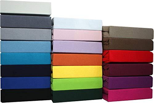 SUMG Farbenfrohes Jersey Spannbettlaken aus hautsympathischer 100% Baumwolle (Rot 90-100 x 200 cm)