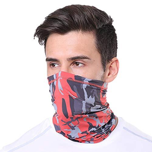 PODOM Gesichtsmaske aus Eisseide, Kühlende Halstuch Nickituch Biker Tuch Motorradmaske Bandana Kopftuch Balaclava UVSchutz Camouflage Rot