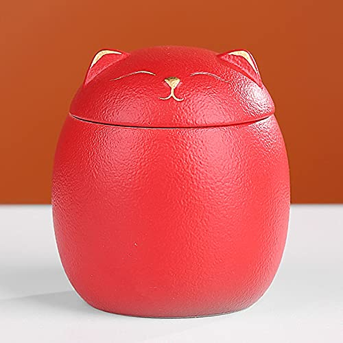 OLLY-Urns urna Cenizas Gato urna funeraria, pequeñas urnas para Cenizas humanas, urna de cremación Conmemorativa, Honor a su ser Querido - 5 Colores (Color : Red)