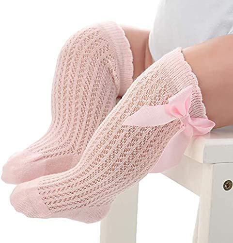 PAADIYA Recién nacido Bebé Medias Grande Nudo de proa Medias Calcetines largos Suave Medias de algodón Calcetines princesa 0-2 años (Rosa, 0-12 meses)