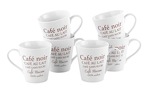 Esmeyer Kaffeebecher Set Fakt 6-teilig, Porzellan, Weiß, 24 x 17 x 11 cm