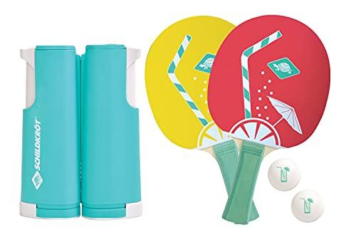 Schildkröt Tischtennis-Set Spin, Tischtennisset mit zwei Schlägern, zwei Bällen, inklusive Netz zur einfachen Montage an Tischplatten, ideal für Unterwegs, im Urlaub oder im Garten, 788660
