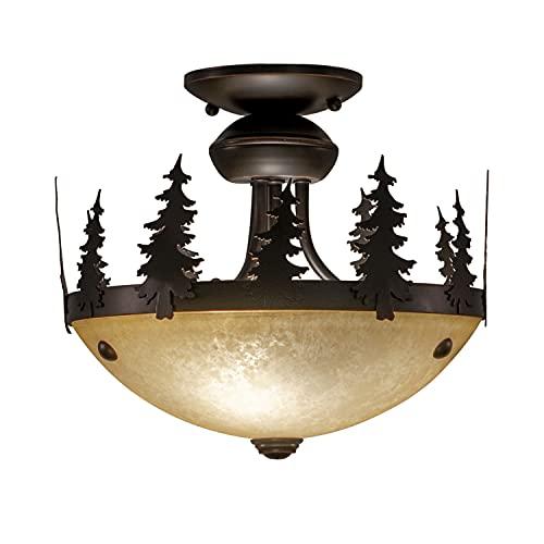 Yosemite 2L LED Bronze Rustic Tree Semi Flush Ceiling Light or Fan Light Kit