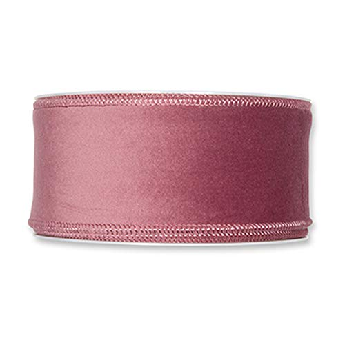 FloristryWarehouse Dusky Pink Christmas Velvet Fabric Ribbon 50mm (2') Wide on 8m roll Wired Edge