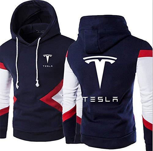 JJZXLQ Sudadera con capucha para hombre, impresión digital 3D, Tesla de manga larga, para primavera, otoño, C, S