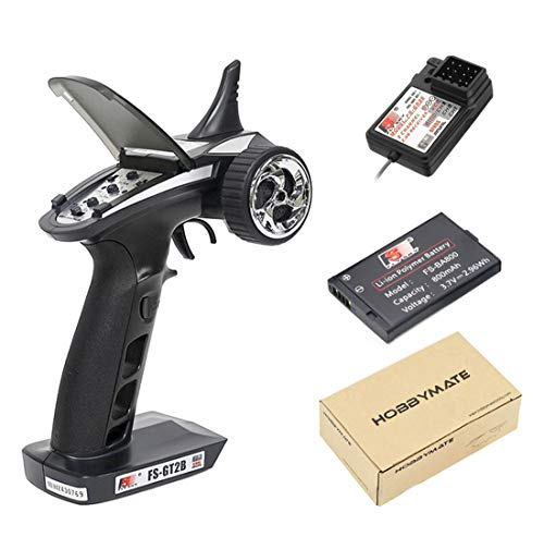 HOBBYMATE Flysky RC FS-GT2B Radio Transmitter & FS-GR3E Receiver, 3 Channel 2.4Ghz Radio Controller with Internal Rechargeable Transmitter Battery