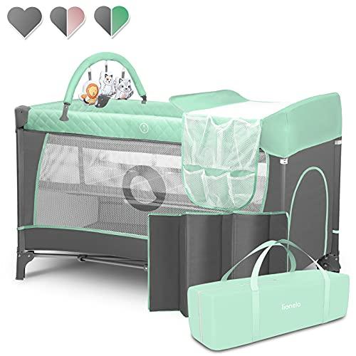 Lionelo Flower Camita de viaje 2 en 1 65 x 125 x 76 cm Para niños hasta 15 kg Colchón Organizador Cambiador Toy bar Juguetes interactivos 2 Reudas Compacta Bolsa para transportar Turquesa y Gris