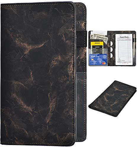 Server Books for Waitress - Marble Texture Leather Waiter Book Server Wallet with Zipper Pocket, Cute Waitress Book&Waitstaff Organizer with Money Pocket Fit Server Apron (Black Gold)