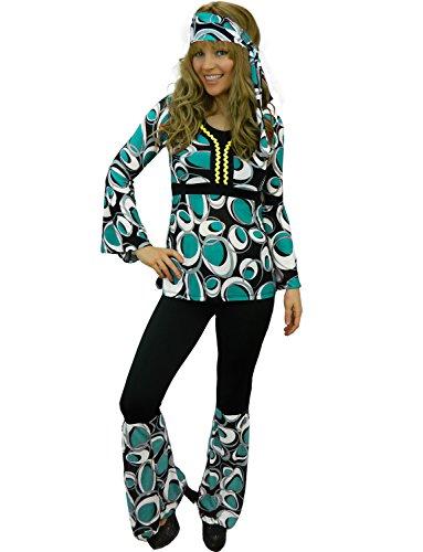 Yummy Bee - Hippy Années 60 70 Flower Power Hippie Gogo Disco Retro Déguisement Femme Grande Taille 34 - 46 (Bleue Vert,44)