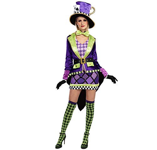 Spooktacular Creations Crazy Mad Hatter Purple Victorian Circus Halloween Costumes for Women(X-Large)